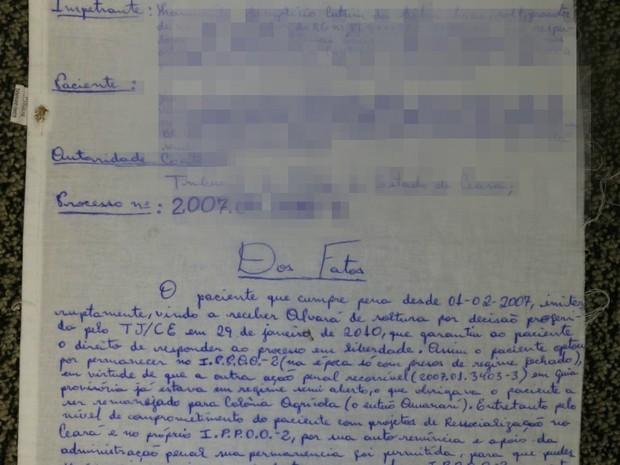 CE preso escreve em lenol pedido de habeas corpus ao STJ